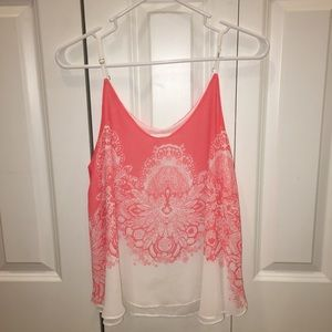 Tops - Pink & white paisley tank top